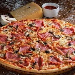 Пицца, ветчина-грибы